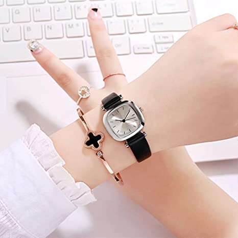 Liandd Pequeño Dial Caja Cuadrada Relojes Mujeres Correa de Cuero Reloj Señoras Relojes de Pulsera de Cuarzo Reloj Mujer Chica Hora Simple,A: Amazon.es: Deportes y aire libre