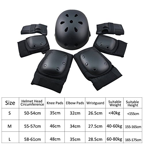 7Pcs Adults Protective Gear Set,Safety Helmet with Elbow,Knee,Wrist Pads Safeguard for Roller Skateboard Scooter Bicycle Bmx Bike Black S
