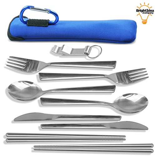 TravelSource Unbreakable Camping Eating Utensils Kit - 2-Person Stainless Steel Utensils Set With Neoprene Case, Backpack Hanging Carabiner, Chopsticks & Bottle Opener by TravelSource