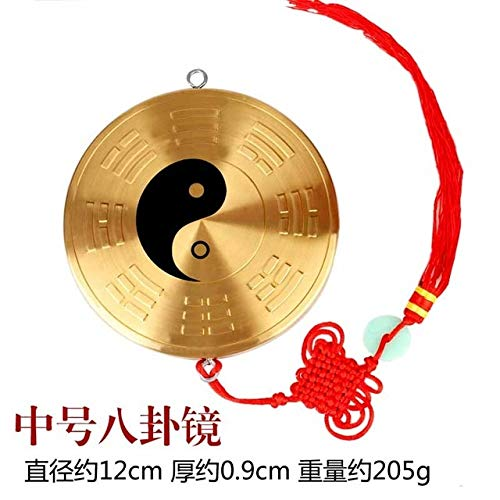 ZAMTAC Jiugong feng Shui Copper tai chi Gossip Mirror Pendant yin and yang Fish Convex Mirror concave Ornaments Home Crafts - (Color: 2)