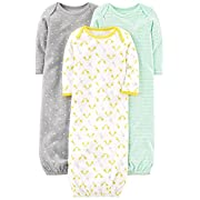 Simple Joys by Carter's Baby 3-Pack Cotton Sleeper Gown, Gray/Green/Yellow, 0-3 Months