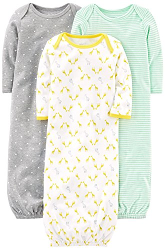 Simple Joys by Carter's Baby 3-Pack Neutral Cotton Sleeper Gown, Gray/Green/Yellow 0-3 Months