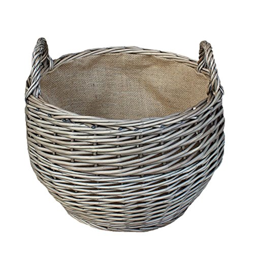 Large Antique Wash Stumpy Wicker Basket by Red Hamper