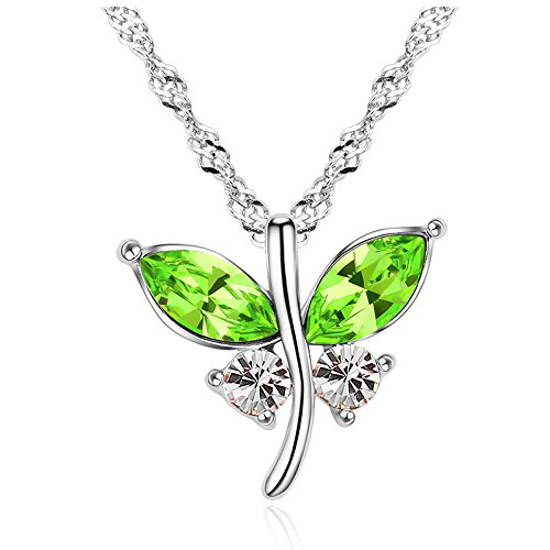 Gen 2 Valance (The Starry Night Olive Green Austrian Crystal Flower Butterfly Dances Pendant Silver Fashion Women Necklace)