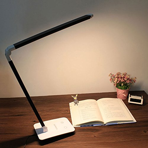 LED Desk Lamp, 4 Color Modes & Stepless Dimming Over 900 lm 10W, Non-Flicking Eye-Caring Touch Control Work Light, 14 inches Long Lamp Head, 60 Energy Efficient LED (Black) by Marsbros