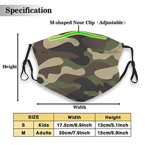 Green Brown Camo Camouflage Women Men Breathable Anti-Dust Face Mouth Cover Mask Respirator, Protection Anti Pollution Warm Windproof Mask With Carbon Filter