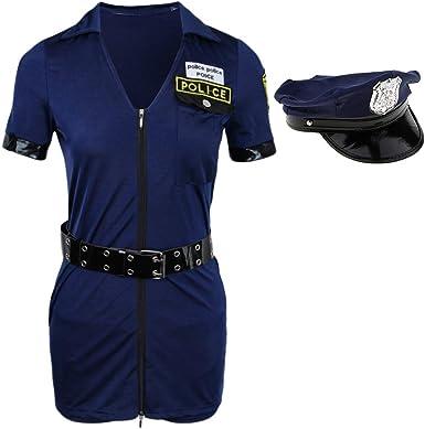 Traje de Policía Mujeres De Cosplay Poli Mameluco Uniforme Oficial Halloween Trajes - Armada, Única: Amazon.es: Ropa y accesorios
