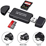USB Type C SD Card Reader,USB 3.0 Card Reader,SD Card Reader,OTG Function Portable Memory Card Reader , Micro SD Card Reader, SD,Micro SD,SDXC, SDHC,Compatible for PC Laptop Smart Phones & Table