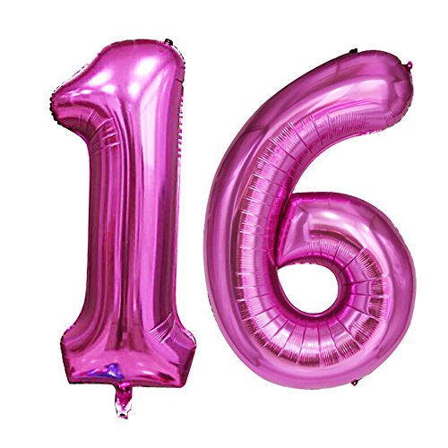 GOER 42 Inch Pink 16 Number Balloons for 16th Birthday Party Decorations,Jumbo Foil Helium Balloons for Sweet 16 Party,16th Anniversary ()