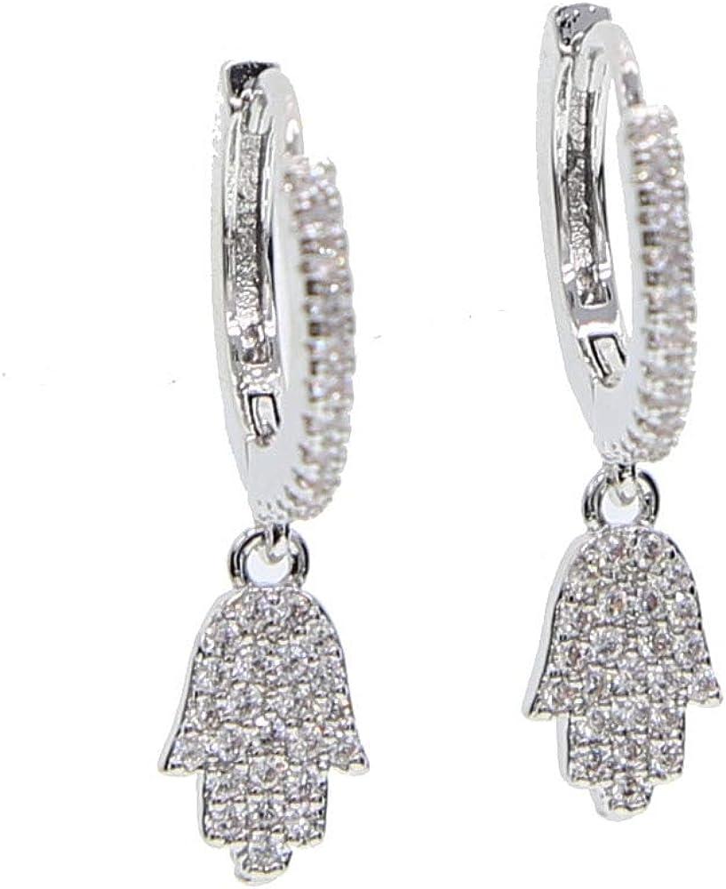 Micro Pave claro Hamsa mano Fátima mano encanto colgante pendiente para mujeres clásica plata color joyería