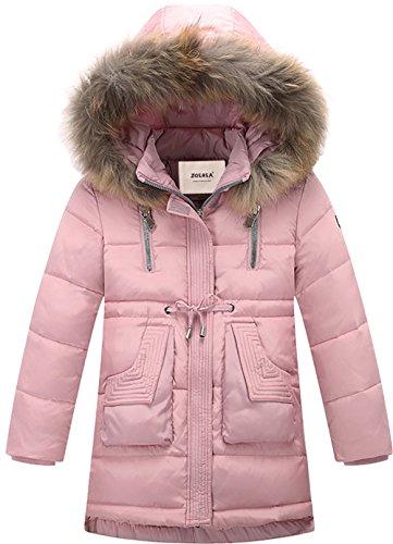 ZOEREA Kinder Mädchen Daunenjacke Daunenmantel Lang Jacke mit fellkapuze Verdicken Warm Winter Kleidung