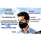 2 X Oxypura Air Purifying Face Mask with Activated Carbon Filter Multi Layer Large Size Black Color Mask