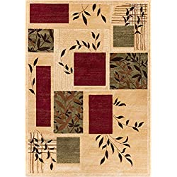 "Well Woven Great Forest Ivory Floral Nature Modern Formal Area Rug 8x10 8x11 (7'10"" x 9'10"") Easy to Clean Stain Fade Resistant Shed Free Traditional Transitional Soft Living Dining Room Rug"