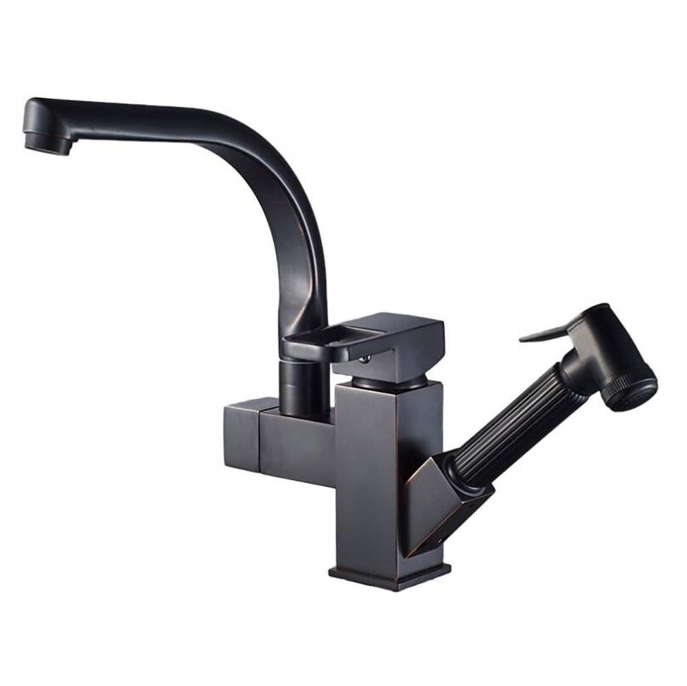 YLG Black Basin Mixer Hot And Cold Faucet Swivel Black Matte Kitchen Sink Faucet Pull Out The Spray Gun