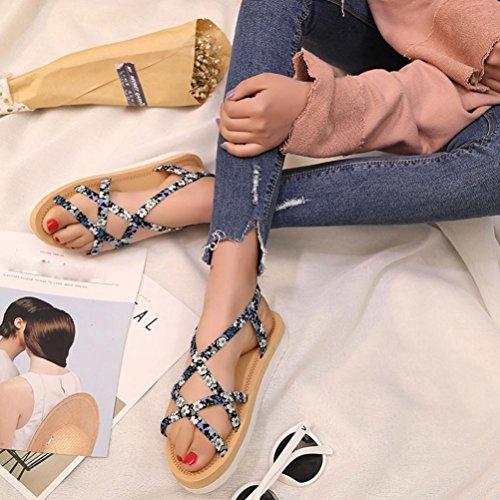 Transer® Damen Künstliches PU+Gummi Niedlich Sandalen Flach Draußen Drinnen Sandalen (Bitte achten Sie auf die Größentabelle. Bitte eine Nummer größer bestellen. Vielen Dank!) Blau