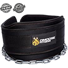 "DMoose Fitness Premium Dip Belt with Chain – 36"" Heavy Duty Steel Chain, Comfort Fit Neoprene, Double Stitching – Maximize your Weightlifting & Bodybuilding Workouts"