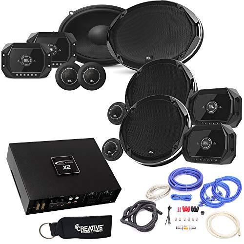 JBL Stadium GTO600C 6.5-Inch Components + GTO960C 6x9-Inch Components + ARC Audio X2 450.4 500 Watt Amp + Wiring Kit (Car Speakers Harman Kardon)