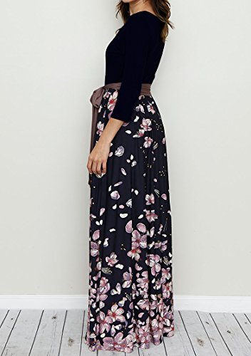 Long Striped Womens Tie with Pockets Patchwork Navy 4 Bigyonger Floral 1 Casual Print Sleeve 3 Waist Maxi Dress X74g7F