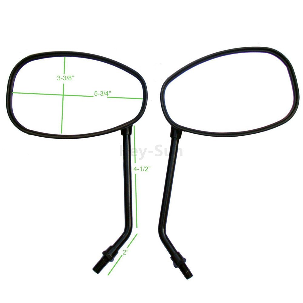 Key-Sun Black Motorcycle Oval Mirrors For Honda CB Shadow VTX Ruckus 50 One Pair(Left And Right)