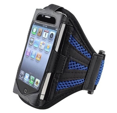G4GADGET® Mesh Navy Blue Running Armband Case Cover for Apple Iphone 4s/4