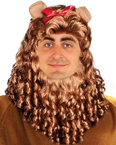 Cowardly Lion Wig | Lion's Mane Curly Wig, Beard, Ears Set for Wizard of Oz, Simba, Lion King ()