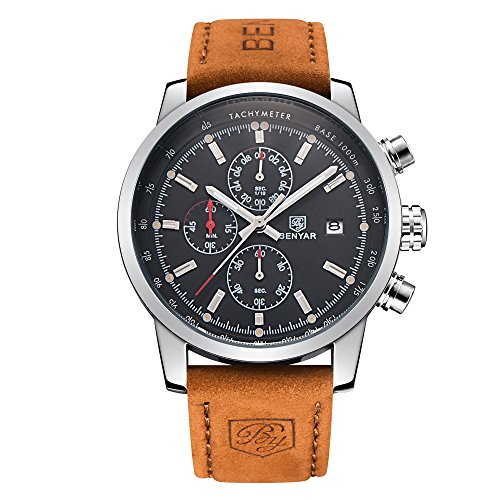 BENYAR Men Watch Chronograph Fashion Sport 3ATM Waterproof Casual Brown Leather Wrist Watch