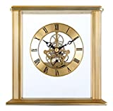 Acctim 154 x 155 x 68 mm Vermont Stylish Brass Table/Mantel Quartz Clock with Skeleton Movement, Gold by Acctim