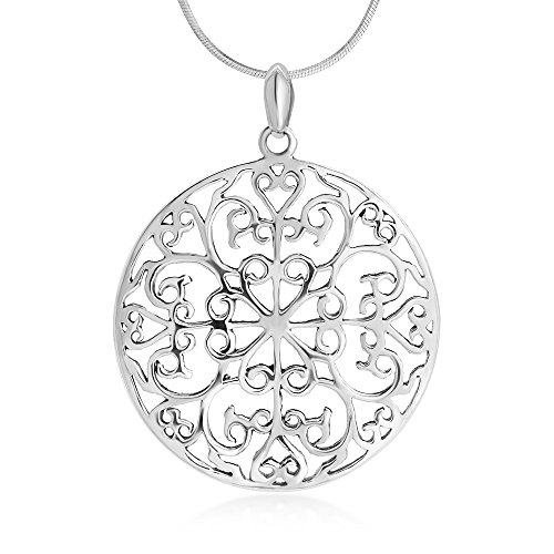 (Suvani Jewelry Sterling Silver Open Detailed Filigree Heart Lucky Four Leaf Round Pendant Necklace for Women, 18