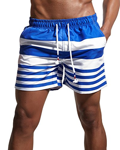 Men's Stripe Swim Trunks Quick Dry Casual Swim Shorts Blue 32/Tag Asia L (Waist Stripe Short)