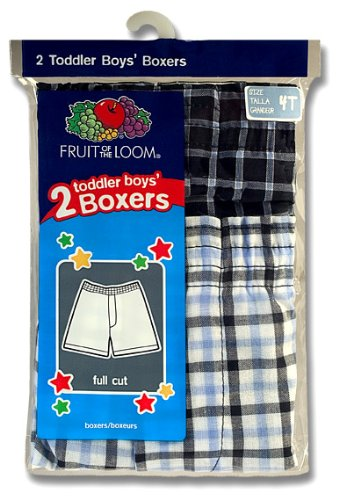 Fruit of the Loom Little Boys' Woven Boxer  ,Tartan Plaids,2T/3T(Pack of 2)