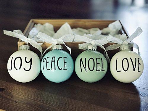 Set of 4 Small Pastel Christmas Ornaments - Farmhouse Decoration - Joy Peace Noel Love