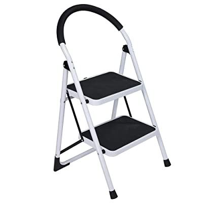 Haluoo 2 Step Ladder Folding Metal Stepladders with Anti-Slip Handgrip and Wide Pedal Steel Ladder Multi-Use Step Stool Platform Stool for Home Use Household 300 Lbs Load Capacity (White): Kitchen & Dining