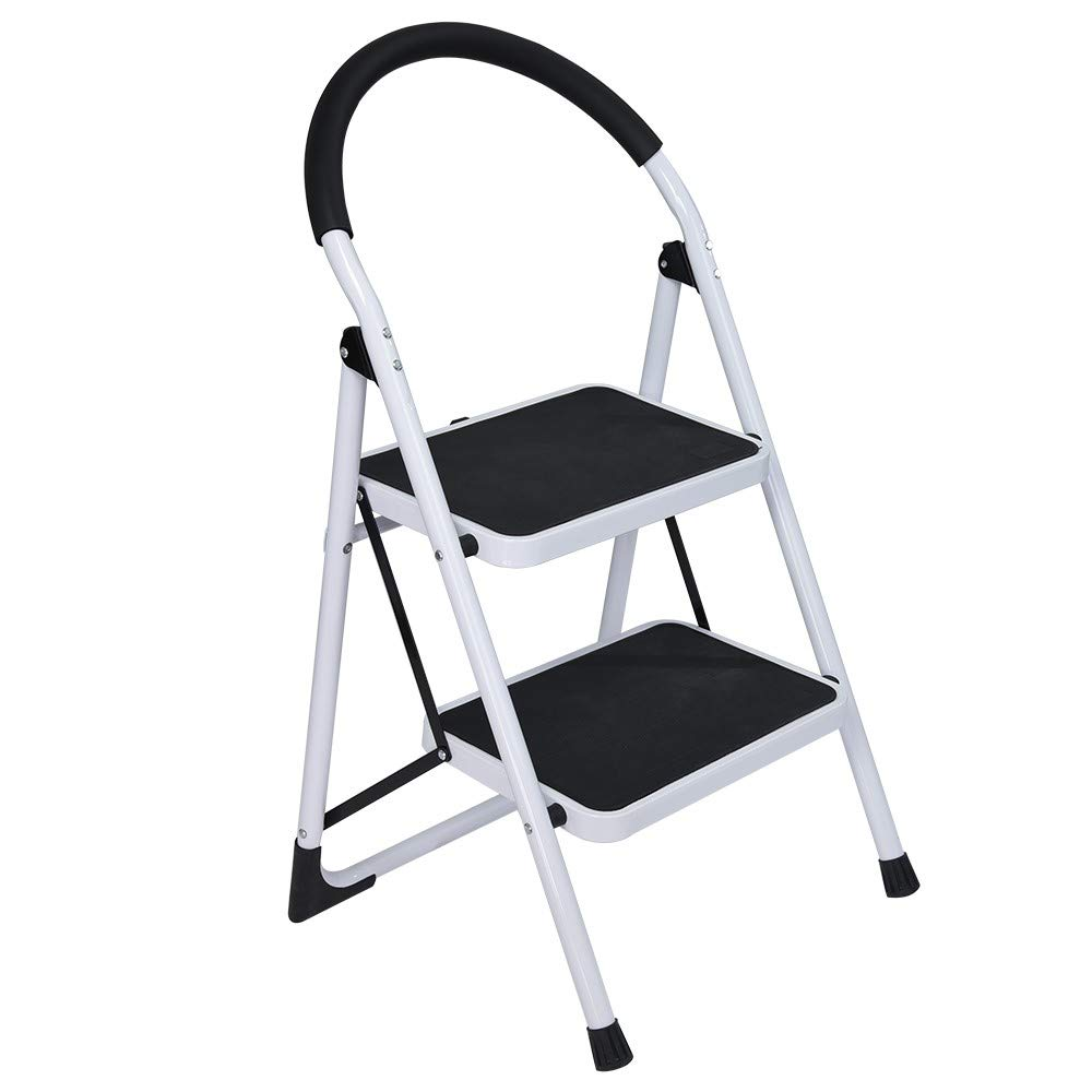 RDTIAN 2nd Stage Folding Step Stool Steel Ladder with Handle Anti-Slip Solid Wide Pedal