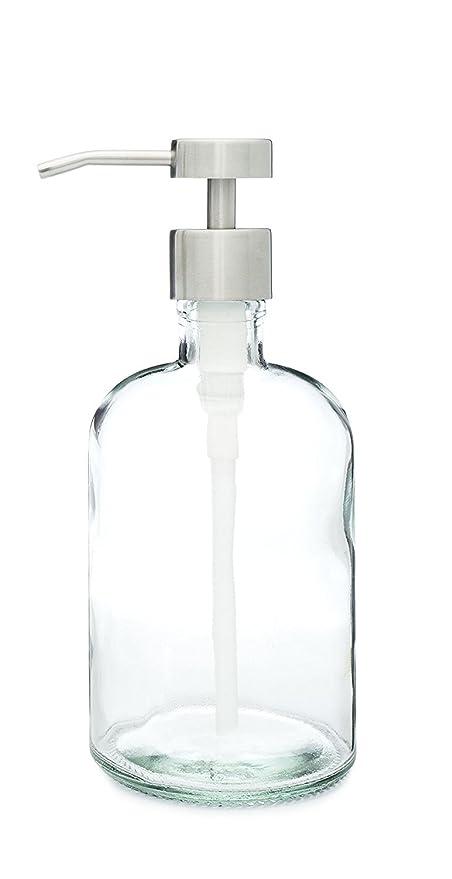 Dispensador de jabón de vidrio reciclado con fuente bomba de acero inoxidable