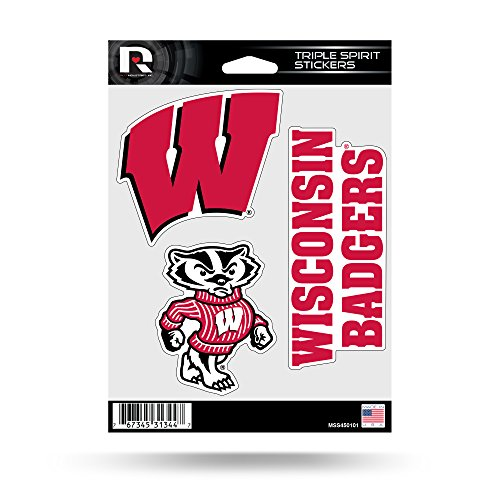 Wisconsin Badgers Ncaa Peel - Rico NCAA Wisconsin Badgers Die Cut 3-Piece Triple Spirit Sticker Sheet