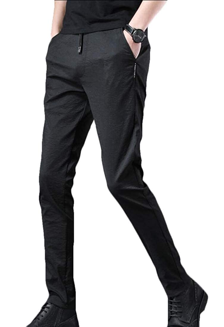 Xswsy XG Mens Hipster Slim Fit Elastic Waistband Drawstring Straight Leg Pants