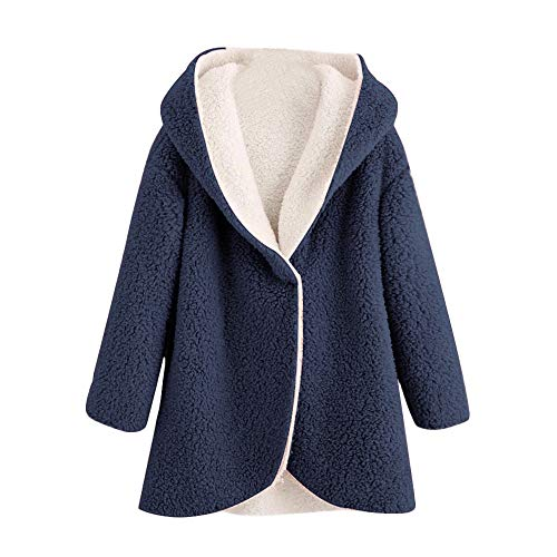 - ANJUNIE Warm Winter Jacket Women's Curved Hem Longline Faux Fur Sherpa Fleece Hoodie Coat(Navy,L)