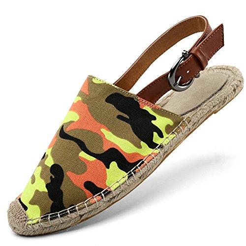 Santimon Hombres Mujeres Hecho A Mano Cómodo Alpargatas Sandalia De Goma Ducha Zapatos De Playa Slip On Zapatillas Flip Flop Camuflaje2
