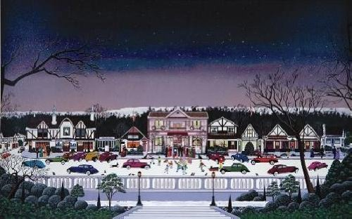 (Nicky Watanabe - Christmas in Cambria Hand Pulled Serigraph)