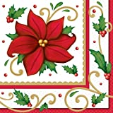 Winter Botanical Luncheon Napkins Christmas Party Tableware (125 Pieces), Red/Green, 6.5'' x 6.5''.