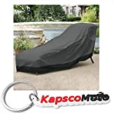 Outdoor Patio Chaise Lounge Chair Cover 78'' Length Dark Grey with Black Hem - 100% Waterproof Winter Storage Cover Deck Patio Backyard Veranda Porch Chair Covers + KapscoMoto Keychain