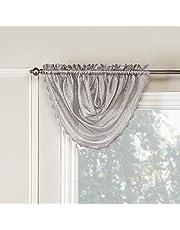Renaissance WHIS-SILVAL Home Fashion Whisper Waterfall Valance, 45 X 39, Silver