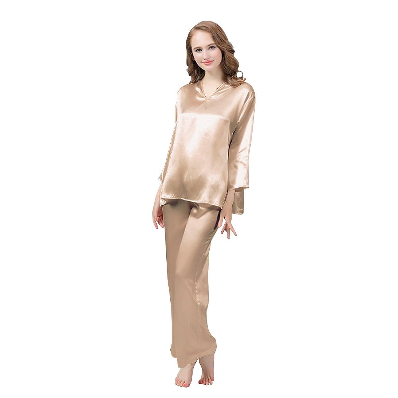 LULUSILK Damen 19 Momme Seide Langarm Pyjama Set Locker Nachtwäsche Schlafanzug