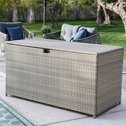 Amazon.com & Deck Box Patio StorageAll-Weather Wicker190-Gal. Driftwood
