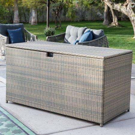 Deck Box Patio Storage,All-Weather Wicker,190-Gal. Driftwood