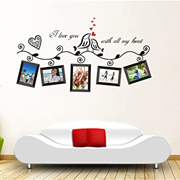 Anself Love Birds Photo Frame Art Wall Stickers Decal Romantic Wedding Room Decor