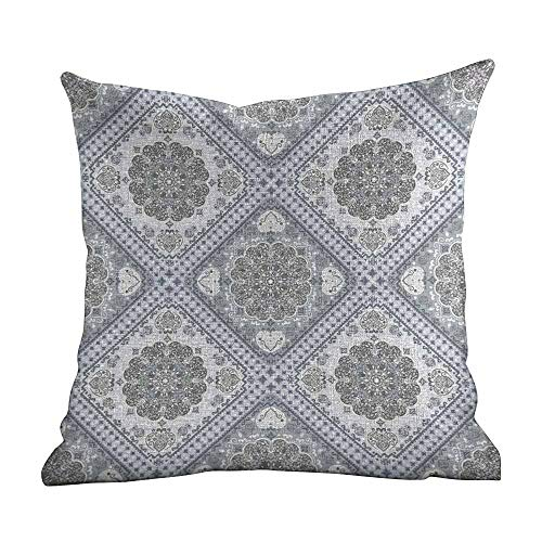 Matt Flowe Personalized Pillowcase,Turkish Pattern,Complex Swirl Art Motifs with Persian Origins in Pale Colors,Grey Pale Mauve White,Apply to office22 x22