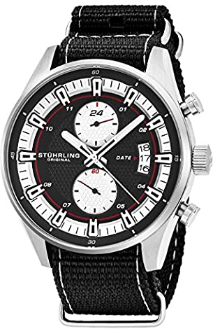 Stuhrling Original Men's Analog Watch – Stainless Steel True Dual Time Zone GMT W/Date Sports Watch – Comfortable, Durable NATO Nylon Strap – 845 Series (Pocket Watch Stuhrling)