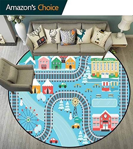 Kids Activity Round Rug Girls,Lovely City in The Winter Train Track Activity in Cartoon Drawing Style for Dining Room,Multicolor,D-67