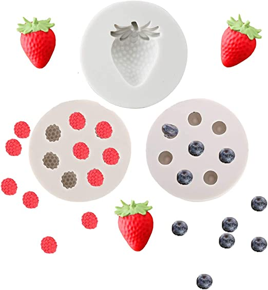 4pcs//set Fruit Shaped Jelly Molds 3d Strawberry Orange,Raspberry /& Blueberry Silicone Fondant Molds Soap Embed Molds Wax Embeds,Berries Chocolate Candy Mold for Cake Cupcake Topper Decoration